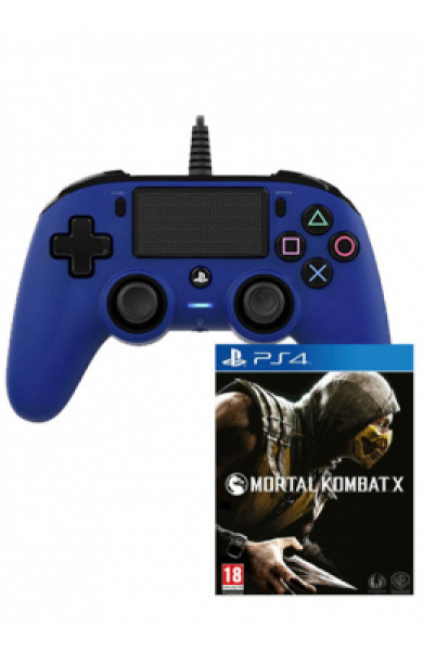 Nacon PS4 Wired Compact Controller Blue + Mortal Kombat X